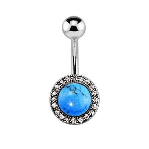 Dynamique Semi Precious Stone Gem Pave Round 316L Surgical Steel Belly Button Ring