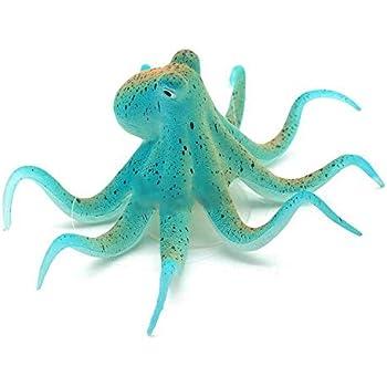 SeedWorld Decorations - 1pc Aquarium Artificial Fluorescent Octopus Ornaments Resin Non-Toxic Wired Floating False Ocean Animal Aquarium Decoration 1 PCs