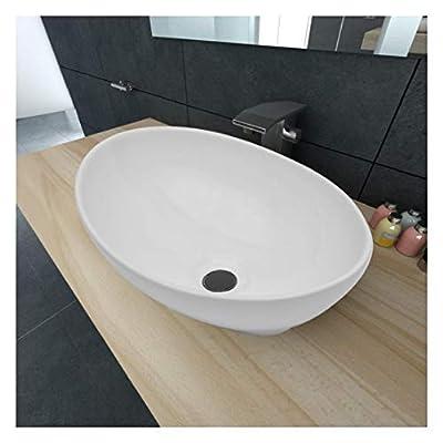 "HomyDelight Sink, Luxury Ceramic Basin Oval-Shaped Sink White 15.7"" x 13"""