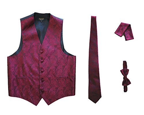 Amanti - Men's 4pc Set Paisley Tuxedo Vest Vest / Tie / Hanky / Bow Tie (XX-Large (Chest:46