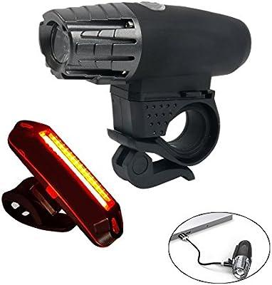 YaeTact USB recargable luz de la bicicleta conjunto super brillante delantera y trasera linterna LED faro luz trasera a prueba de salpicaduras para niños hombres mujeres en bicicleta de carretera: Amazon.es: Deportes