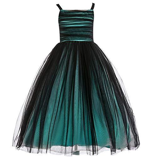Weileenice 3-14Y Baby Girl Wedding Dresses Big Girls Party Dance Ball Gown Pageant Junior Tutu Dress (13-14Y, Green)
