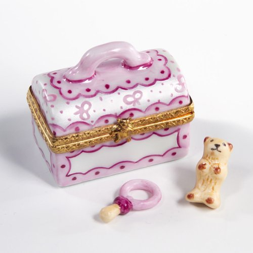 Authentic French Limoges Baby Girl Vanity Box with Pacifier and Teddy Bear