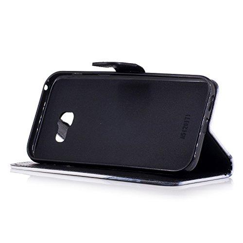 Funda Samsung Galaxy A5 2017/A520,Ecoway Pintado Cuero de la PU Leather Cubierta, Función de Soporte Billetera con Tapa para Tarjetas Soporte para Teléfono - Gatos curiosos búho