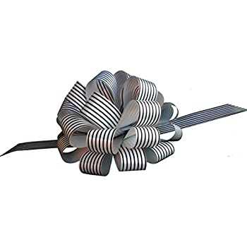 "Black White Striped Christmas Gift Wrap Pull Bows with Tails - 8"" Wide, Set of 6, Wreath, Present, Basket Decor"