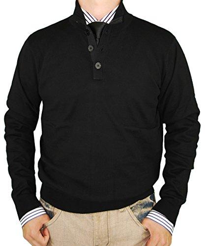 LN LUCIANO NATAZZI Classic Fit Button Mock Neck Sweater Elbow Cotton Cashmere Touch (XXXX-Large, Black)