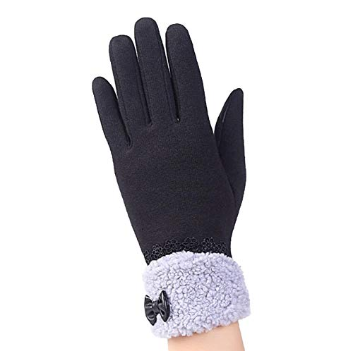 (The small cat Fashion Women Touched Screen Gloves Cute Bow Warm Cashmere Female Gloves,G145 016A Black,One Size)
