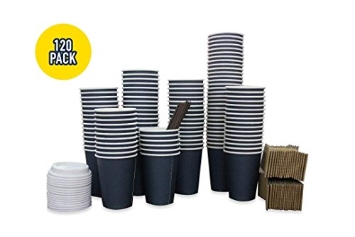 120PK Disposable Paper Coffee Cups/With Cups, Sleeves, Lids and Stirrers. Perfect for Coffee, Latte or Tea on the go! ()