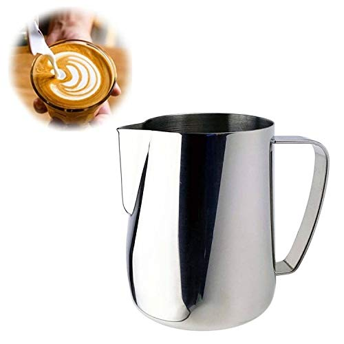 Milk Jug 0.3-0.6L Stainless Steel Frothing Pitcher Pull Flower Cup Coffee Milk Frother Latte Art Milk Foam Tool Coffeware, Capacity:350ml Premium Material (Color : Silver) by SHIFENX