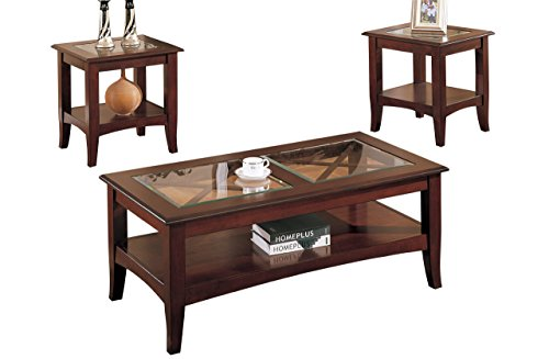 - Poundex 3-Piece Coffee Table, Dark Cherry