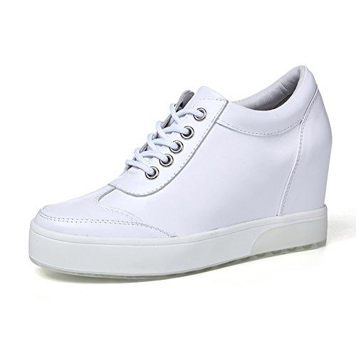 PUMPS Freizeitschuhe,Damenschuhe mit Dickem Boden,Aus Echtem Lederschuhe,Erhöhen Sie Die Kleinen Weißen Schuhe IM Gürtel-B Fußlänge=23.3CM(9.2Inch)