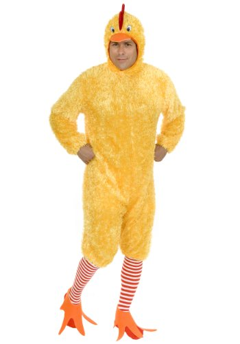 Chicken Halloween Costumes For Adults (Charades Men's Adult Funky Chicken Costume Set, Yellow,)