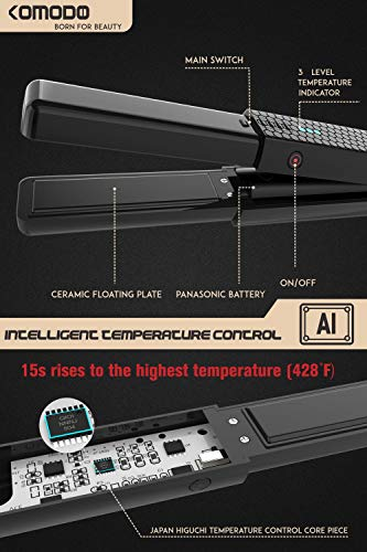 Cordless Hair Straightener Flat Iron, 2 in 1 Hair Curler and Straightener, Portable Wireless Mini Flat Iron for All Hair Types, USB Rechargeable with 3 Adjustable Temp, Black