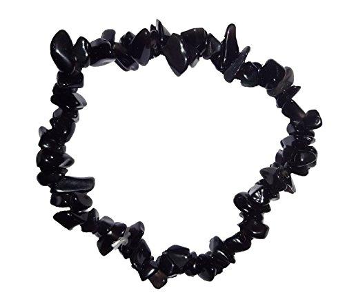 1pc Natural Healing Crystal Black Onyx Chip Gemstone 7 Inch Stretch (Emerald Jasper Bracelet)