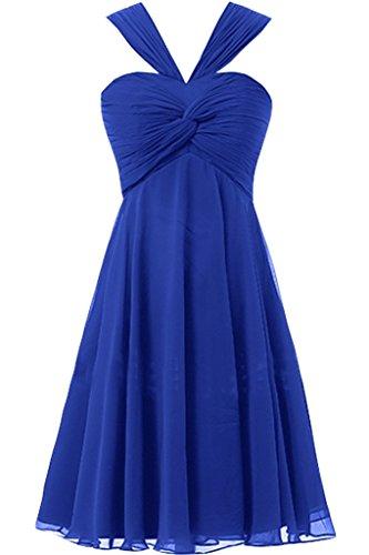 sunvary a-line ruches de cuello gasa novia Vestidos de damas de honor Homecoming Fiesta azul real
