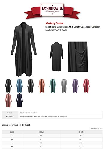 Made by Emma Long Sleeve Side Pockets Midi Length Open Front Cardigan Black L by Made by Emma (Image #5)