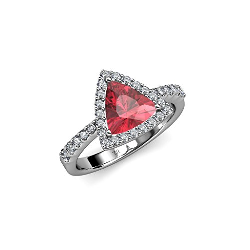 TriJewels Pink Tourmaline and Diamond Halo Engagement Ring 1.50 cttw in 14K White Gold.size 8.0