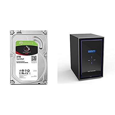 8XSeagate 2TB IronWolf NAS SATA 6Gb/s NCQ 64MB Cache 3.5-Inch Internal Hard Drive with NETGEAR ReadyNAS RN428 8 Bay Diskless High Performance NAS