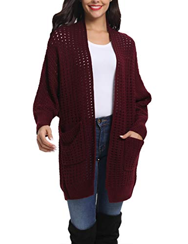 (LYHNMW Womens Fashion Open Front Long Batwing Sleeve Knit Cardigans Sweater Coat with Pocket Red Wine)