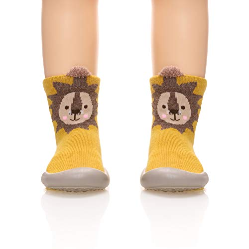 Childrens Kids Toddlers Animal Rubber Sole Non-Skid Indoor Floor Slipper Baby Boy Girls Breathable Cotton Outdoor Shoes Socks (Yellow, Insole: 4.92 - Winter Boots Angels