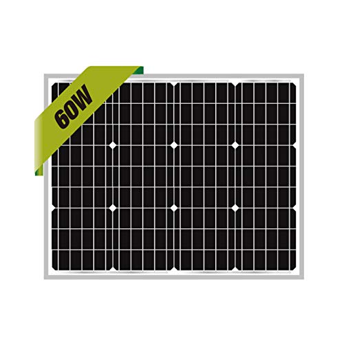 Newpowa 60W Mono Solar Panel 60 Watts Monocrystalline for RV,Boat,Home Off Grid System (Same Size as 50W)