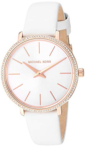 Michael Kors Women's Pyper Stainless Steel Quartz Watch with Leather Strap, Rose Gold/White, 14 (Rose Gold Strap Watch)