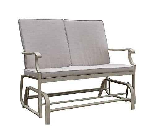 Wood & Style Patio Outdoor Garden Premium Camel Torino Aluminum Outdoor Double Glider Loveseat