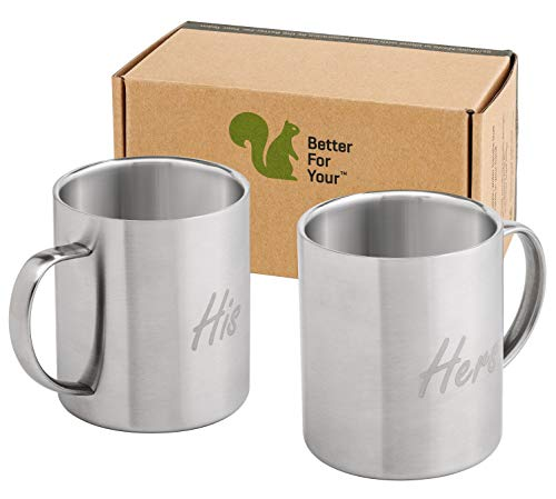 His & Hers Coffee Mugs Stainless Steel Double Wall - Set of 2 Mugs - Freestyle Font ()