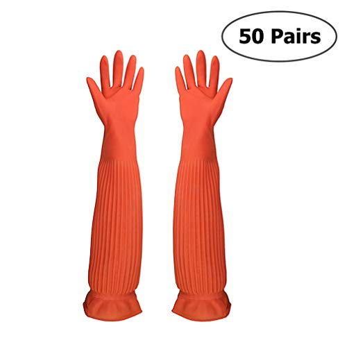 SYROVIA Wholesale Reusable Waterproof Household Gloves All Purpose Cleaning Long Glove Kitchen Natural Rubber Living Wash Gloves by SYROVIA (Image #7)