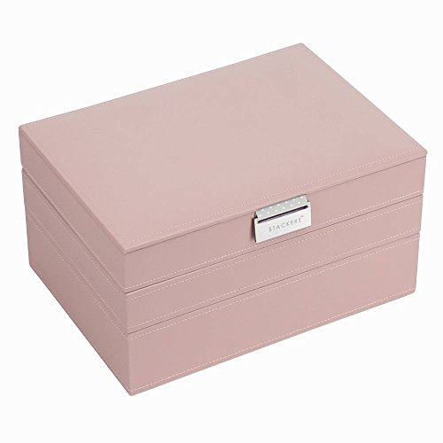 Stackers by LC Designs - Jewelry Boxes - 3 Tier (Soft Pink & Grey Polka Lining) (Stacker Tier)