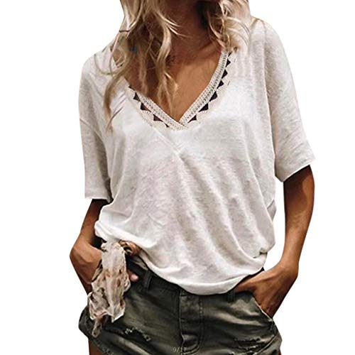 Leisuraly Womens Sexy Deep V Neck Blouses Short Sleeve Casual Summer Hollow Out Shirts Tops White