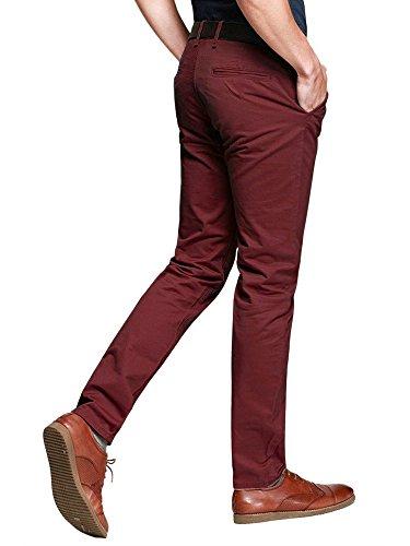 Ochenta Bordeaux En Casual Business Coton Slim Droit Pantalon Cargo Chino Homme N268 hrQtsd