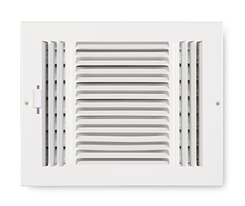 Accord ABSWWH384 Sidewall/Ceiling Register with 3-Way Design, 8-Inch x 4-Inch(Duct Opening Measurements), White ()