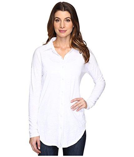 Mod-O-Doc Women's Slub Jersey Drop Shoulder Side Button Shirt White Shirt