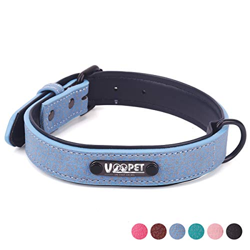 voopet Luxury Leather Dog Collar with Adjustable Metal Buckle, Soft Touch Collars Basic Collar for Puppy Small Medium…