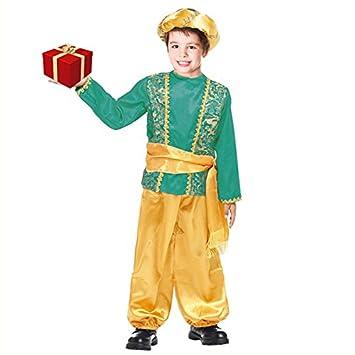Partilandia Disfraz PAJE Verde para niño Navidad 4-6 años