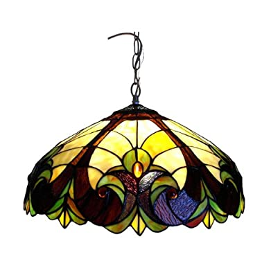 Chloe Lighting CH18780I-DPD2 Tiffany-Style 2-Light Ceiling Pendant Fixture with 18-Inch Shade