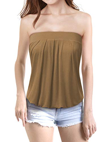 TWINTH Women's Holiday Strapless Pleated Tube Top Shirt Blouse Tanks Camis Mocha Large