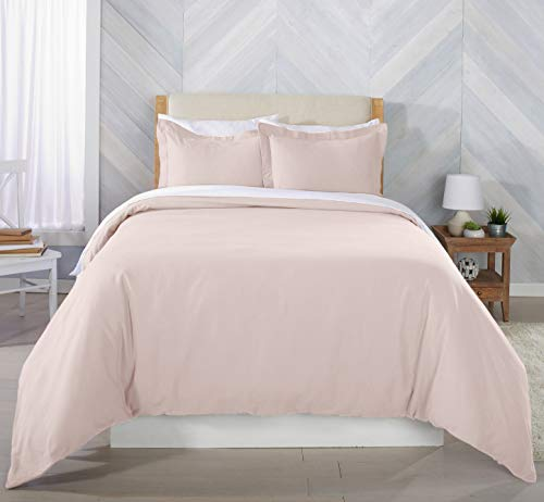 Great Bay Home Extra Soft Flannel Duvet Cover with Button Closure. 100% Turkish Cotton 3-Piece Set with Pillow Shams. Nordic Collection (Full/Queen, Blush -