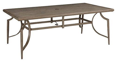 Ashley Furniture Signature Design - Partanna Rectangular Dining Table - Outdoor - Rust Free Aluminum - Woven Resin Wicker Top