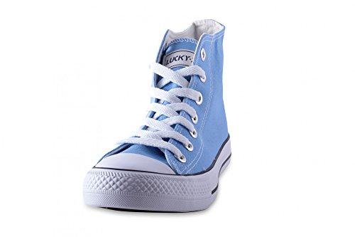 Damen Herren Unisex Canvas Leinwand Sneaker Basic High Schnürschuh in verschiedenen Farben Größe 36-46 Sky. Blue