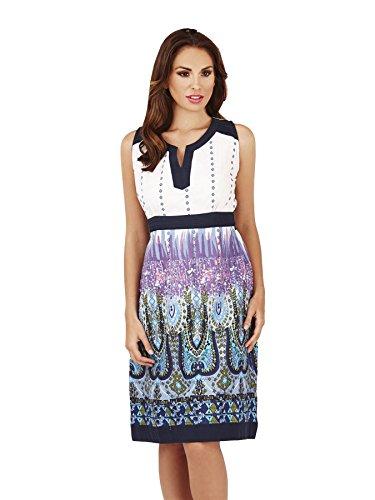 Pistachio, Femmes Imprimé Paisley Longueur Genou Tunique Chemisier Robe, Bleu Violet - Cotton, Pourpre, 100% coton, Femmes, M - 40-42