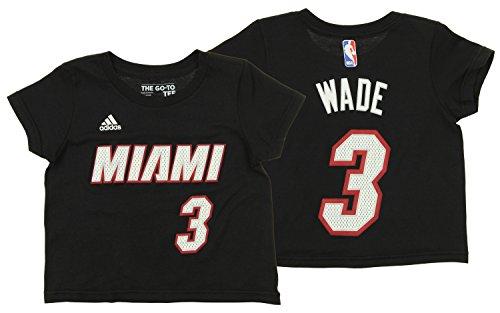 (adidas NBA Toddler's Miami Heat Dwyane Wade Short Sleeve Game Time Tee, Black)