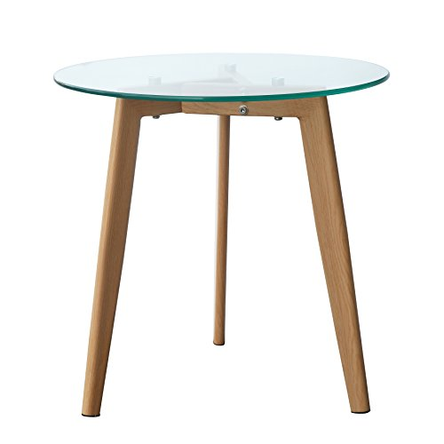 Glass Natural Wood Table - POLY & BARK EM-281-NAT Triskele End Table, Natural