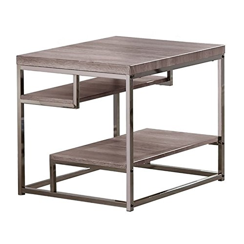 Cheap Coaster Modern Dark Grey End Table with Chrome Frame and 2 Shelves