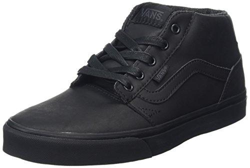 Vans Chapman Mid, Zapatillas Altas para Hombre Negro (Leather black/black)