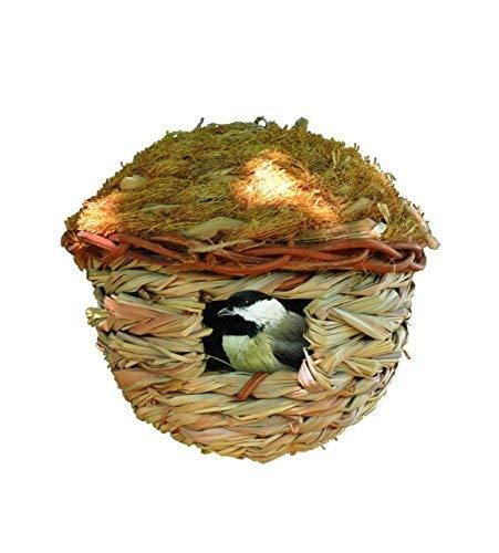 Songbird Wren Essentials House - Songbird Essentials Hanging Birdhouse Roosting Pocket. Reed Grass and Cedar Roof. Winter Bird Refuge