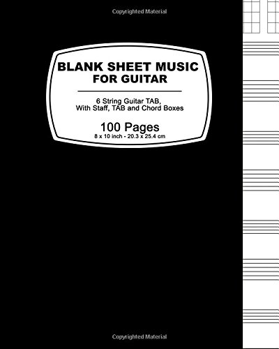 Blank Sheet Music For Guitar: Black Cover ,100 Blank Manuscript Music Pages with Staff, TAB and Chord Boxes (Guitar Blank Sheet Music compare prices)