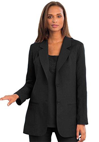 [Jessica London Women's Plus Size Single-Breasted Linen Blazer Black,18] (Linen Single Breasted Sport Coat)