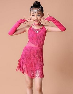 Rose XL peiwen Jupes Latino Les Nouveaux Enfants et des Spectacles de Danse pour Enfants frangé Costume Game Show Girl